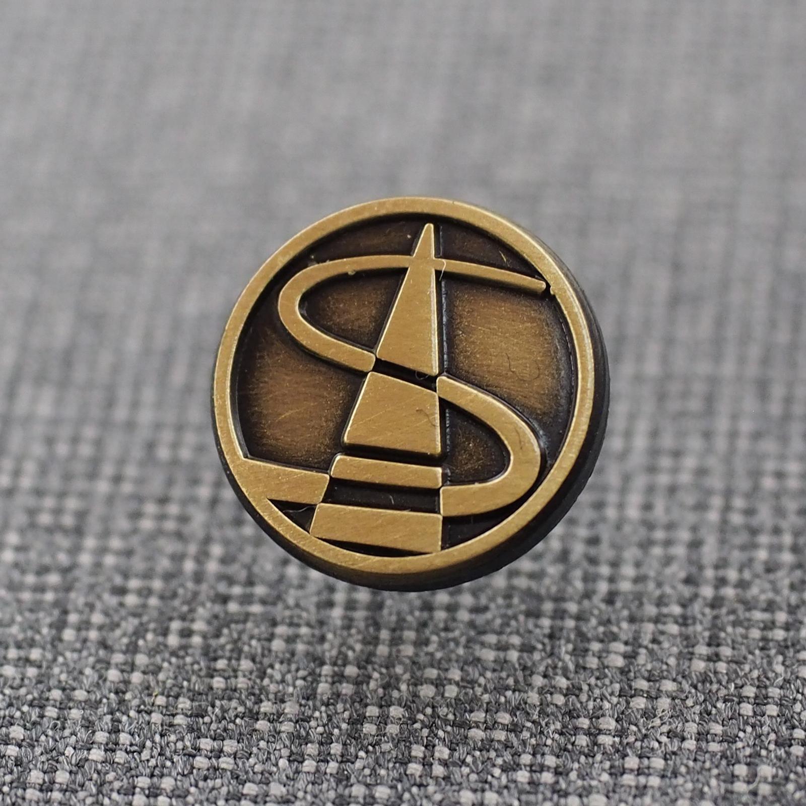 メンバー章 桐箱 高級バッジ 真鍮いぶし いぶしメッキ 丸デザインバッジ ピンバッジ サンプル画像 高画質